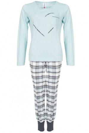 Pijama corazón brillantes y cuadros