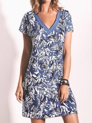 Tunica con escote Rita Basmar bata verano estampado hojas azul