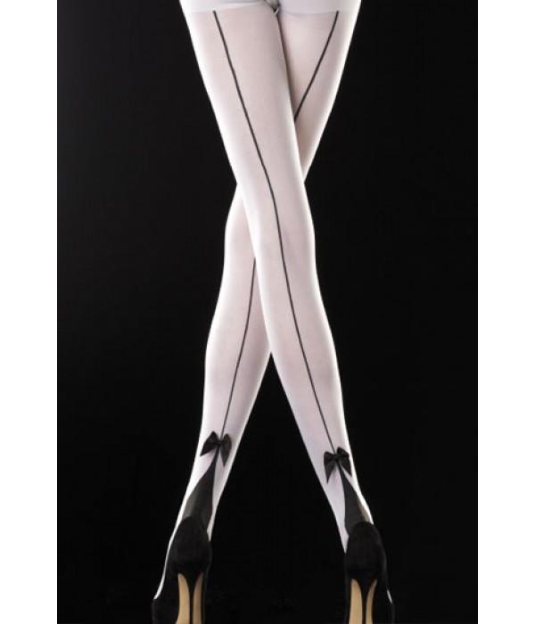 Panty blanco y negro con costura trasera y lazo de Emilio Cavallini