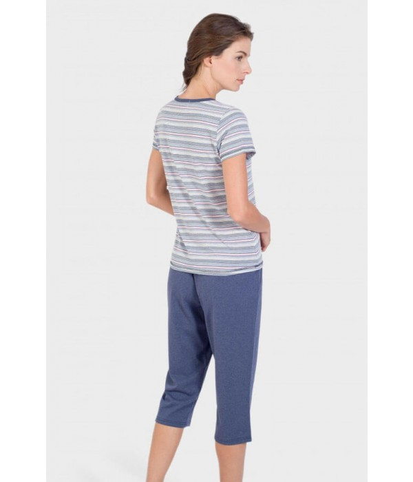 Pijama camiseta manga corta botones y bolsillo